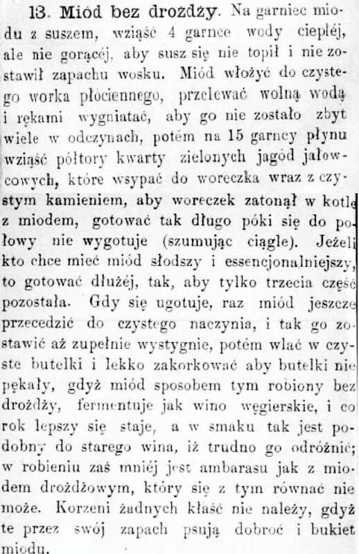 Staropolski przepis na mióð pitny bez drożdży
